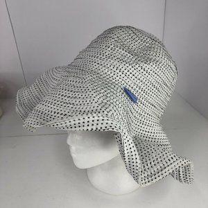 Wallaroo Scrunchie Sun Hat Black White Polka Dot One Size adjustable